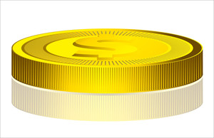 Shiny Yellow Dollar Coin