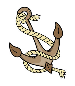 Ship Anchor With Rope - Vector Cartoon Illustration