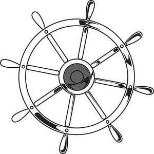 Ship Helm Vector Element With Metal Tag