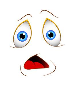 Shocked Cartoon Face Vector Illustration