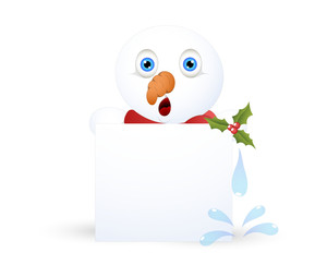 Shocked Snowman With Blank Banner