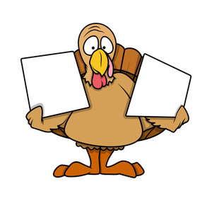 Shocked Turkey Bird Holding Blank Boards