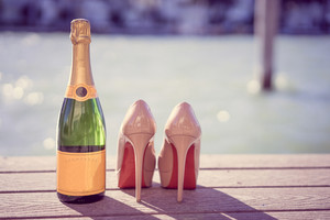 Shoes And Champagne Near The Ocean