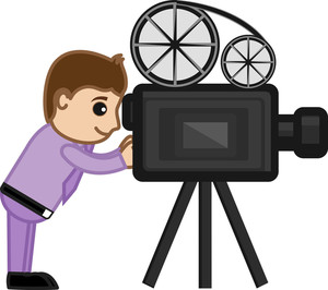 Shooting Film With Movie Camera - Business Cartoons Vectors