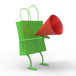 Shopping Bag With Megaphone Showing Sale Announcement