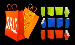Shopping Bags Vector Set.