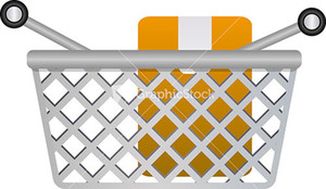 Shopping Basket Icon With Green Plus Sign On White Background