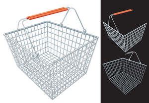 Shopping Cart And Basket. Vector.