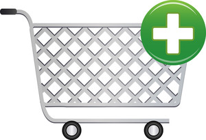 Shopping Cart Icon With Add Sign On White Background