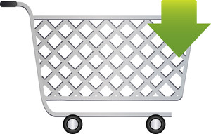 Shopping Cart Icon With Arrow Sign On White Background