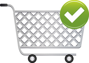 Shopping Cart Icon With Check Mark On White Background