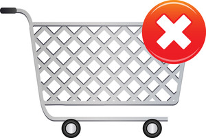 Shopping Cart Icon With Cross Sign On White Background
