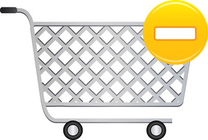 Shopping Cart Icon With Yellow Minus Sign On White Background