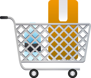 Shopping Cart With Grocery Icons On White Background