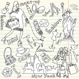 Shopping In New York Doodles-