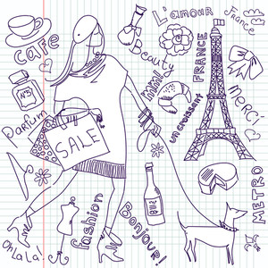 Shopping In Paris Doodles