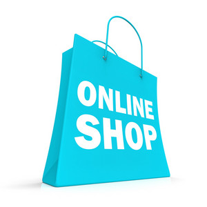 Shopping Online Bag Showing Internet Buying