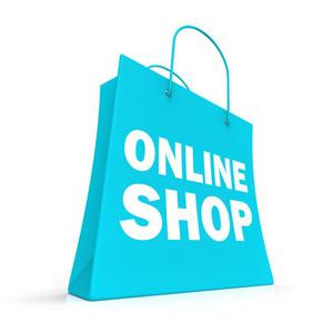 Shopping Online Bag Showing Internet Buying
