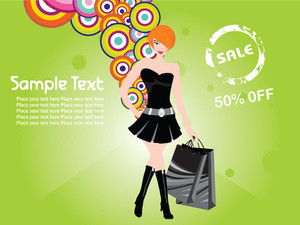 Shopping Sexy Girl Black Dress Background