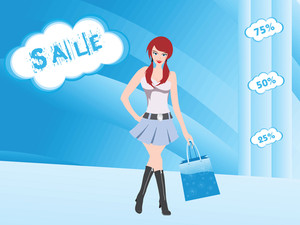 Shopping Sexy Girl Smiling Against Blue Background