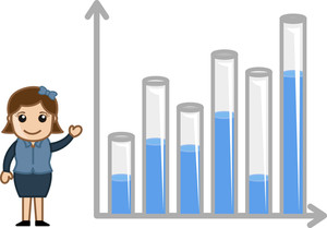 Showing 3d Graph For Yearly Stats - Business Cartoon Character Vector