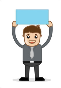 Showing A Banner - Office And Business People Cartoon Character Vector Illustration Concept