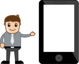 Showing A Blank Screen - Presentation On Screen Concept - Business Cartoon