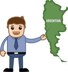 Showing Argentina Map - Business Office Cartoon Character