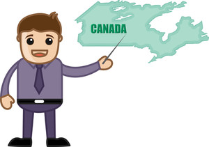 Showing Canada Map - Business Office Cartoon Character