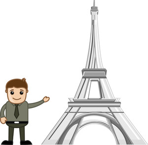 Showing Eiffel Tower Vector Cartoon