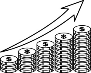 Showing Gold And Money Increasing With A Raising Arrow
