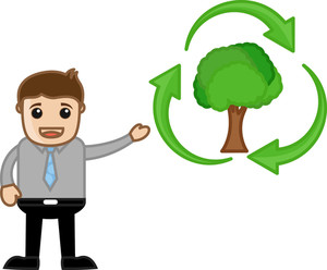 Showing Green Cycle - Nature - Vector Character Illustration