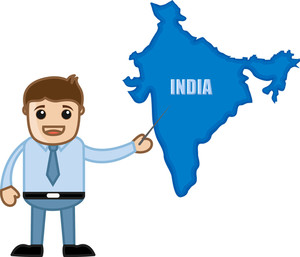 Showing India Map - Business Office Cartoon Character