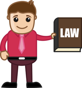 Showing Law Book - Know The Law - Business Cartoon