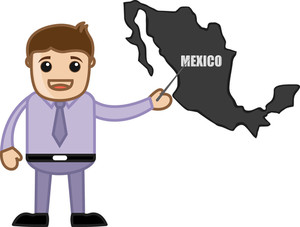 Showing Mexico Map - Business Office Cartoon Character