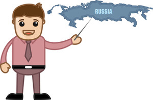 Showing Russia Map - Business Office Cartoon Character