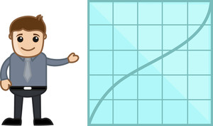 Showing Stats On Graph - Business Cartoon