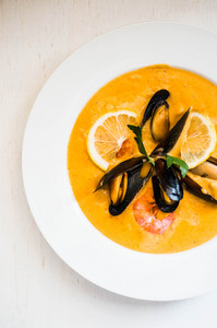 Shrimp Soup With Mussels On White Background