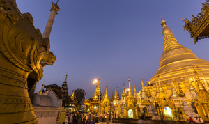 Shwedagon Pagoda Temple beautiful sunset in Yangon, Myanmar or Burma