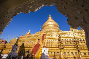 Shwezigon pagoda with blue sky in Bagan, Myanmar.