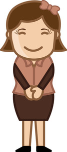 Shy Lady - Business Cartoon Character Vector