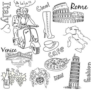 Sightseeing In Italy Doodles-
