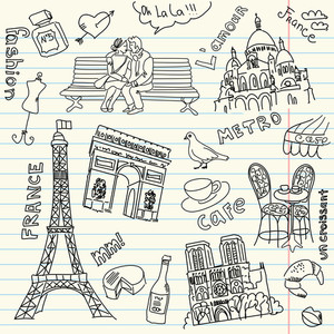 Sightseeing In Paris Doodles-