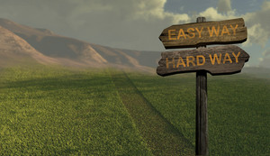 Sign Direction Easyway   Hard Way