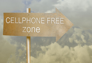 Sign Direction Made With Rust Metal With Text Cellphone Free Zone