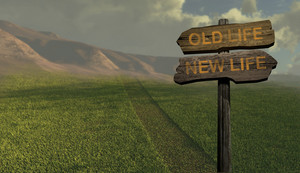 Sign Direction New Life   Old Life