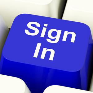 Sign In Computer Key In Blue Showing Website Login