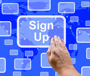 Sign Up Button On Blue Showing Subscription And Registration