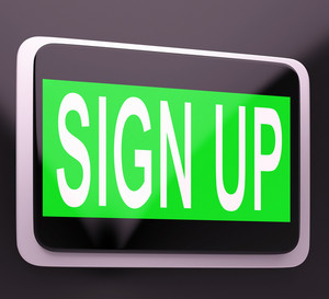 Sign Up Button Showing Website Joining