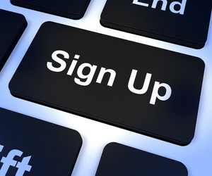 Sign Up Computer Key Showing Subscription And Registration